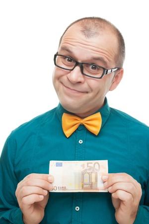 50 euro: Smiling man with european money isolated on white