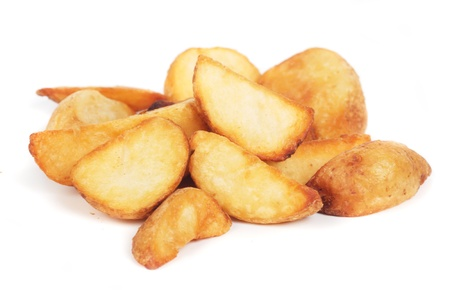 wedges: Fried potato wedges isolated on white background Stock Photo