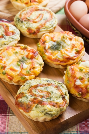 Mini Quiche Lorraine with spinach and vegetables