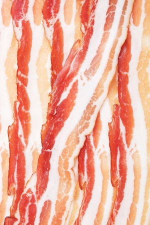 smoked bacon: Slices of smoked bacon, close up image Stock Photo
