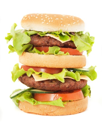 Double hamburger with cheese, lettuce and tomato isolated on white background Stock Photo - 14185489