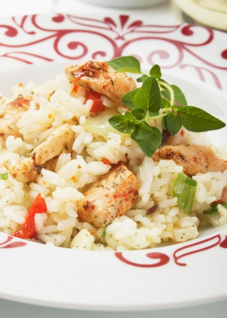 chicken meat: Asian style risotto with chicken meat and vegetables Stock Photo