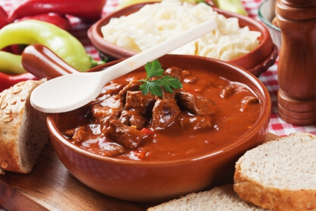 stew: Beef stew or goulash, traditional hungarian meal