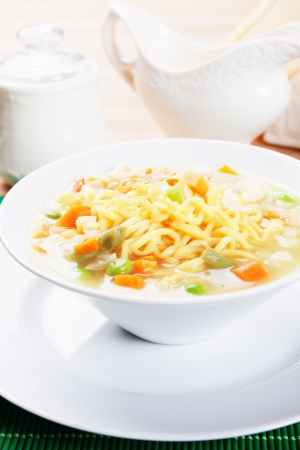 asian noodle: Asian noodle soup with vegetables, healthy vegetarian meal Stock Photo