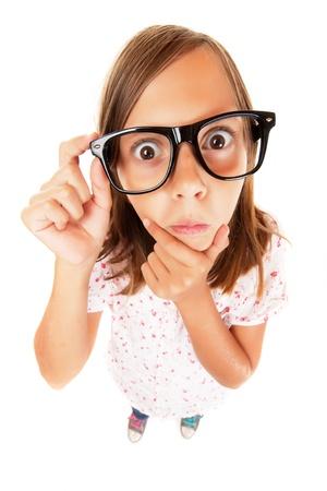 Confused nerd girl isolated on white background Stock Photo