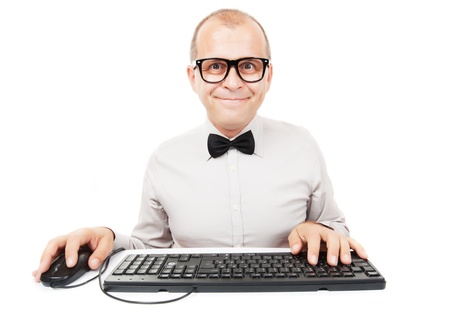 Computer geek with keyboard and mouse, isolated on white background photo