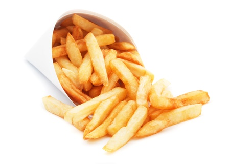 French fries, fried potato isolated on white background photo