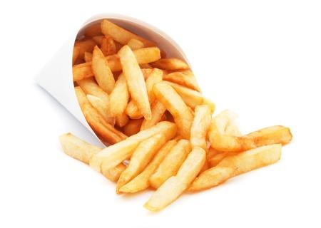 papas fritas: Papas fritas francés, papas fritas aislados en fondo blanco Foto de archivo