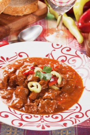 goulash: Hungarian goulash or beef stew, thick meat soup