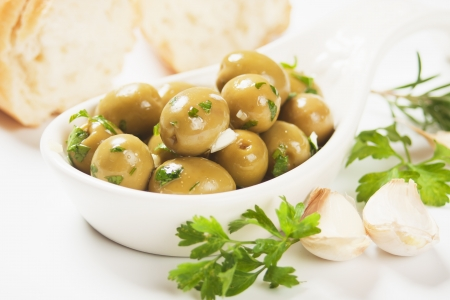 pickled: Pickled green olives with garlic and parsley