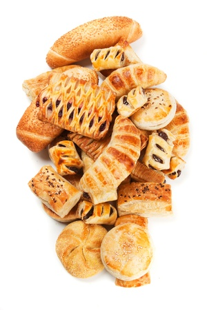 Croissants and other puff pastry isolated on white background Stock Photo