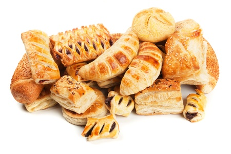Croissants and other puff pastry isolated on white background Imagens