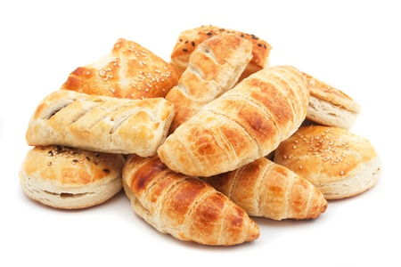 puff pastry: Croissants and other puff pastry isolated on white background Stock Photo