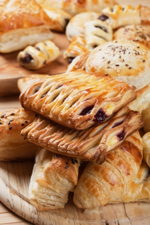 filo pastry: Puff pastry with sweet cream filling, selective focus