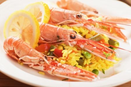 sea food: Shrimps with vegetable risotto, healthy mediterranean sea food