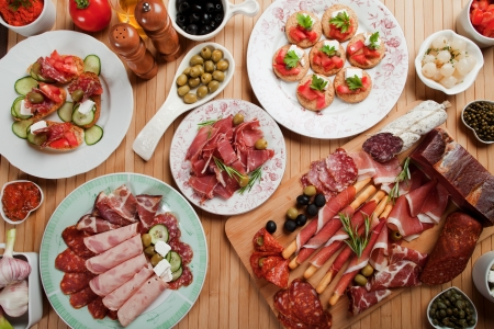 Prosciutto di Parma, various canape snacks and appetizers
