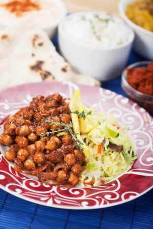 chickpea: Chana masala, chickpeas with cooked rice, classic indian meal