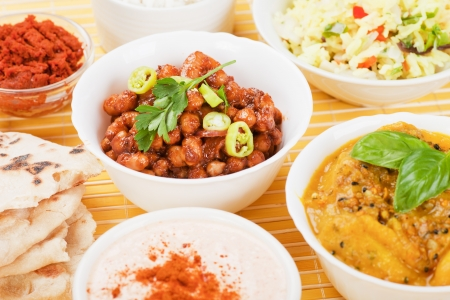 indian meal: Chana masala, chickpeas with hot spices, classic indian meal