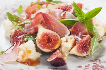 Prosciutto di Parma salad with figs and mozzarella cheese