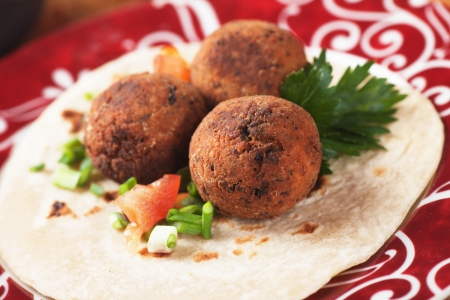Falafel, middle eastern classic food with pita bread photo