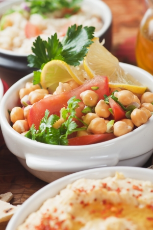 chickpea: Chickpea salad with hummus and couscous, classic middle eastern food