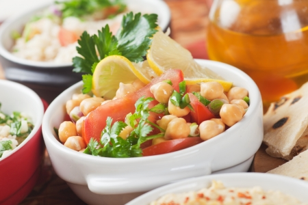 middle eastern food: Chickpea salad with hummus and couscous, classic middle eastern food