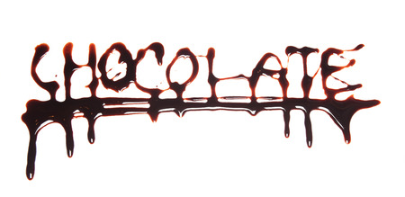 Word chocolate written with choco topping, isolated on white background