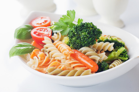 pasta salad: Italian pasta primavera with broccoli and baby carrot