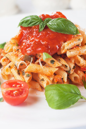grated parmesan cheese: Italian penne rigate pasta with tomato sauce, grated parmesan cheese and basil