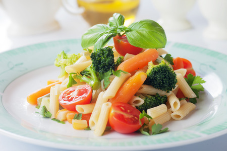 primavera: Pasta primavera, penne rigate with broccoli and other vegetables