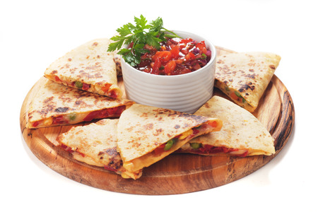 burrito: Mexican quesadillas with cheese, vegetables and salsa isolated on white