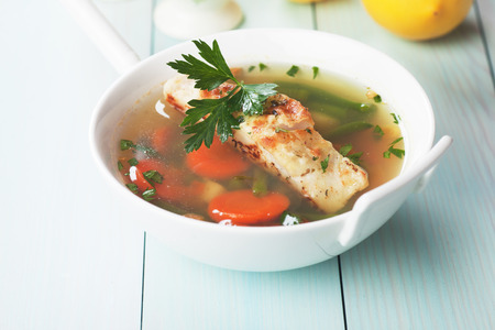 sea food: Sea food soup with grilled cod fish steak