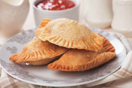 meat pie: Fried empanadas, popular Latin American food served as snack or appetizer Stock Photo