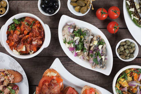 spanish tapas: Spanish tapas or antipasto food, cold buffet appetizers