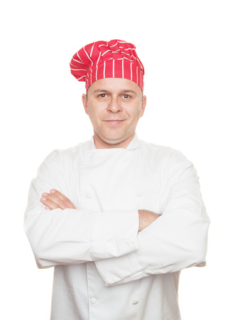red hat: Smiling chef with red hat, isolated on white background