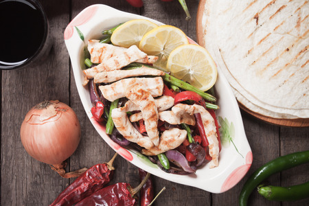 fajita: Fajitas, mexican chicken with grilled vegetable with tortilla wraps