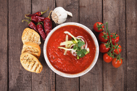spanish food: Gazpacho, spanish raw tomato and vegetable soup Stock Photo