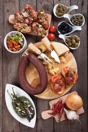 antipasto: Tapas or antipasto food, mediterranean cold buffet great for parties