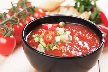 gazpacho: Gazpacho, spanish raw tomato and vegetable soup Stock Photo