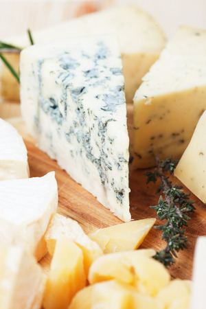 gorgonzola: Slice of gorgonzola, blue cheese with other cheeses as background