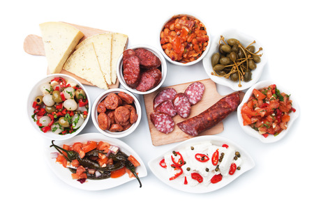 spanish tapas: Tapas, antipasto or meze, mediterranean cold buffet food isolated on white background