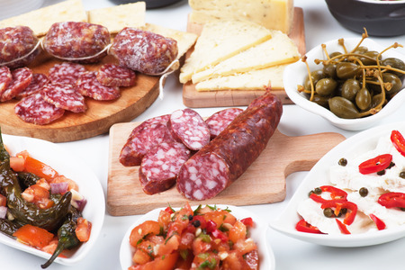 spanish food: Tapas or antipasto food, mediterranean cold buffet