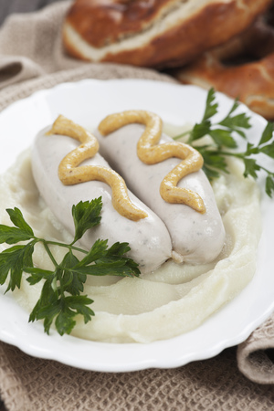 weisswurst: German white sausages served with mustard and mashed potato