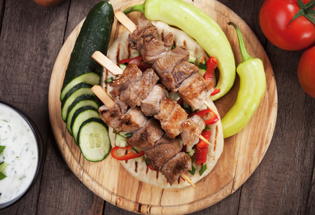 pita bread: Souvlaki or kebab, grilled meat skewer with pita bread
