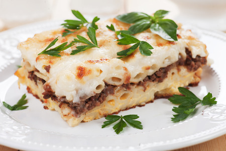 ground beef: Pasticcio or pastitsio with ground beef and bechamel sauce, italian baked pasta Stock Photo