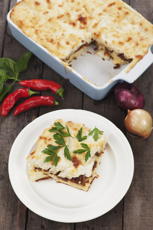ground beef: Pasticcio or pastitsio, oven baked pasta with ground beef and bechamel sauce