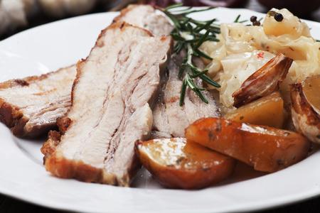 pork: Roasted pork belly or bacon with potato and sauerkraut