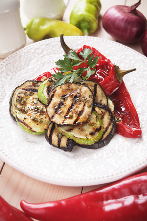 bellpepper: Zucchini, aubergine and red bell pepper grilled on a barbecue