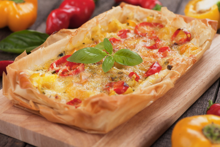 filo pastry: Phyllo pastry pizza with cheese and chili peppers