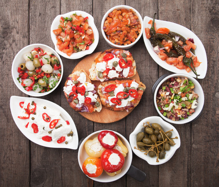 buffet: Tapas, antipasto or meze, traditional mediterranean cold buffet food Stock Photo